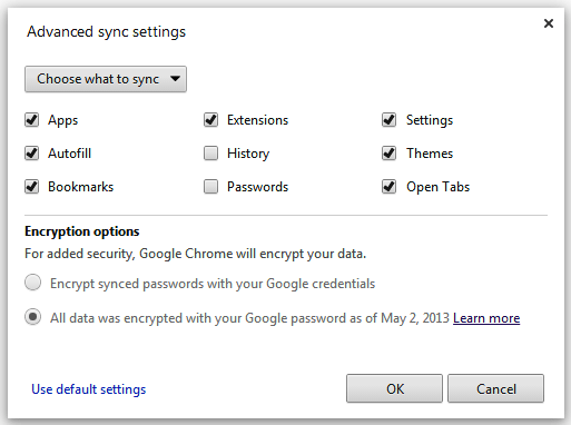 Google Chrome Advanced Sync Settings