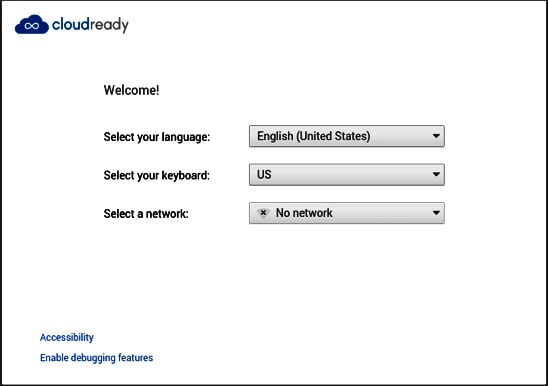 cloudready Chrome OS Image Booting
