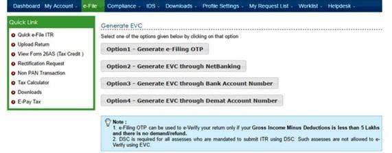 ITR e-Filing EVC OTO Generate