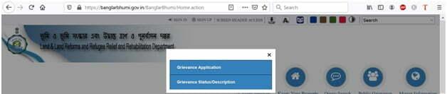 Select Banglarbhumi Grievance Application for Public Grievance Application or Status Check