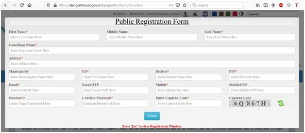 Banglarbhumi Sign Up Public Registration Form