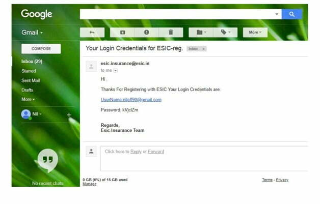 ESIC Login name & Password by eMail
