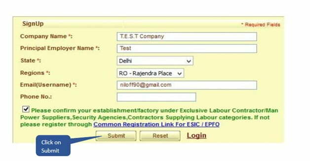 ESIC Signup Submission Form