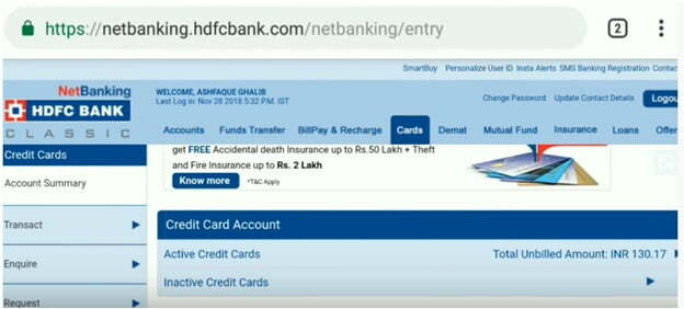 Select HDFC Credit Card Account