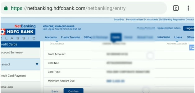 HDFC BANK Credit Card Bill Payment statement