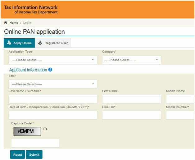 PAN Card Online Registration Form