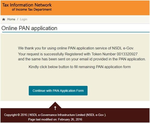 New Pan Card Registration Token Number Generation