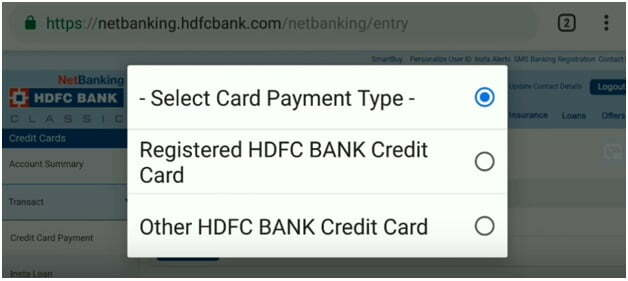 Select Card Payment type