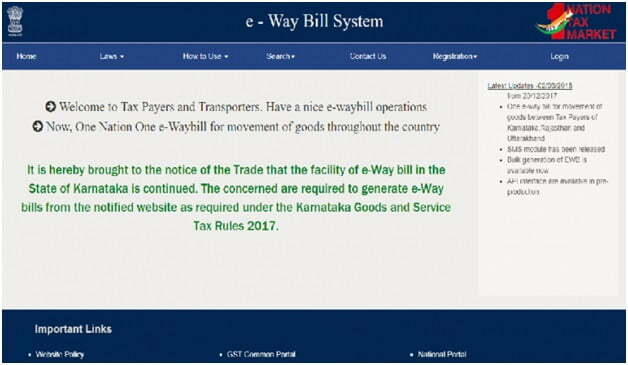 eway bill portal home page