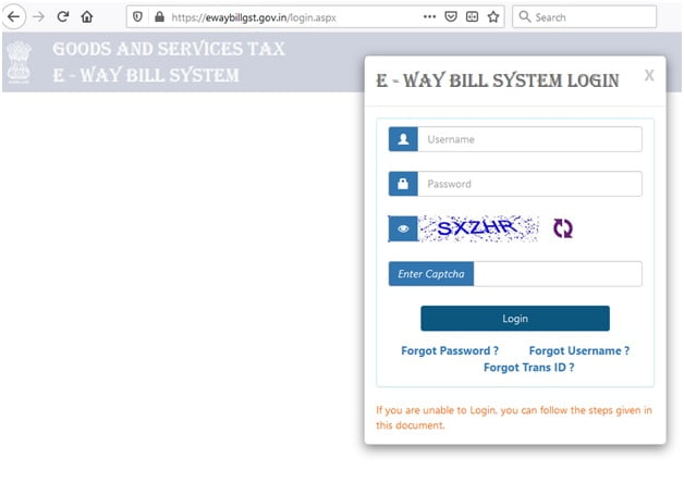 e-way bill system login