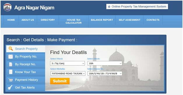 Agra Property Tax Online Payment