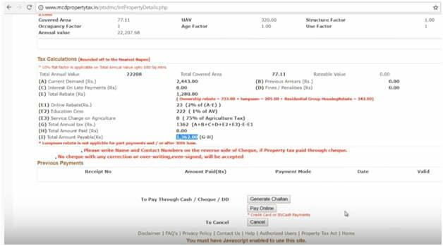 Delhi Property Tax Calculation
