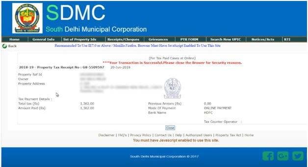 Delhi Property Tax Payment Invoice