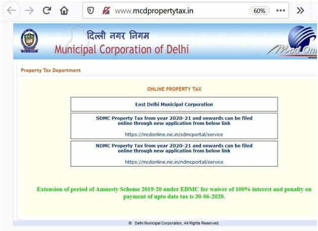 Delhi Property Tax Online