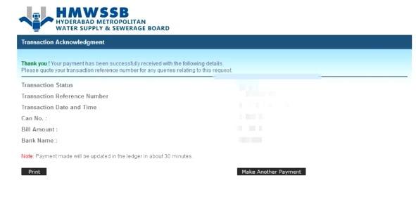 HMWSSB Bill Payment Print