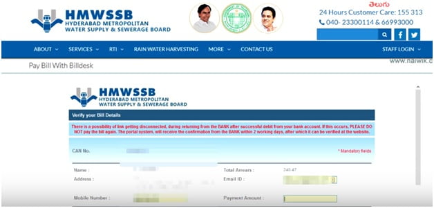 Hyderabad Water Bill Search