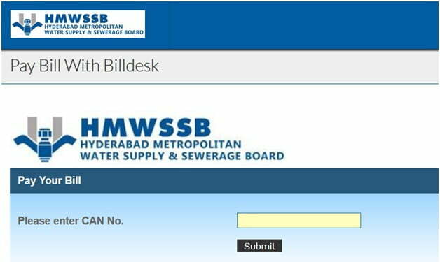 Hyderabad Water Bill Search by CAN Number