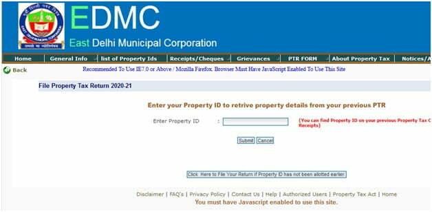 Delhi Property Tax Return