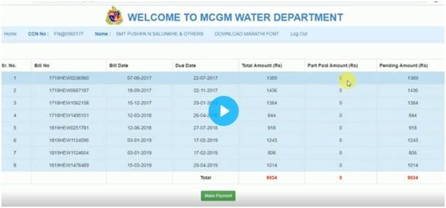 MCGM Water Bill