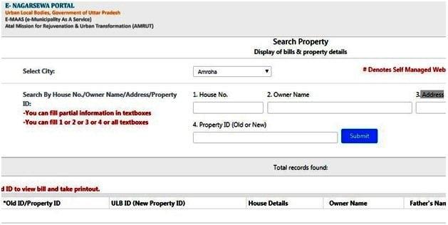 UP Property Tax Search at e-Nagarsewa portal