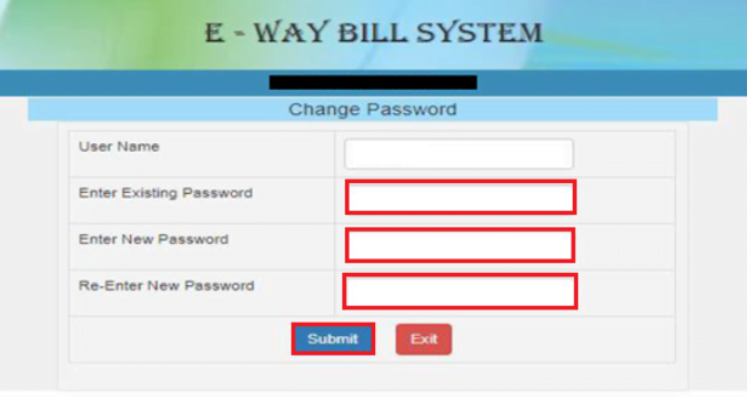e-way Bill GST New Password Generation