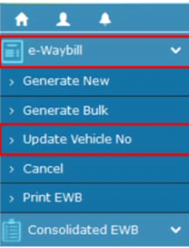 e-Way Bill Vehicle Number Update or Change